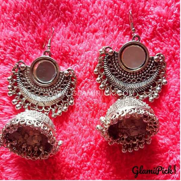 Oxidized Mirror Jhumki Earrings