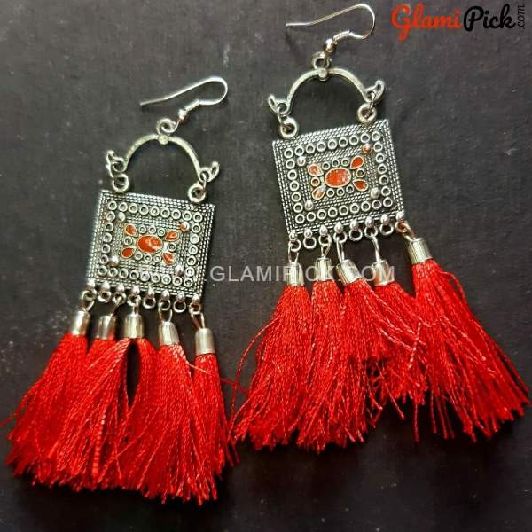 Oxidized Silver Red Tassel Earrings