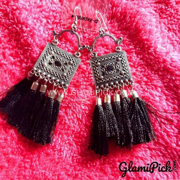 Oxidized Silver Black Tassel Earrings