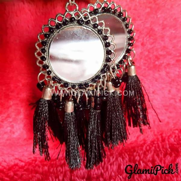 Mirror Black Tassel Earrings
