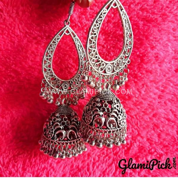 Oxidized Dangle Jhumki Earrings