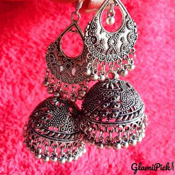 Oxidized Jhumki Earrings