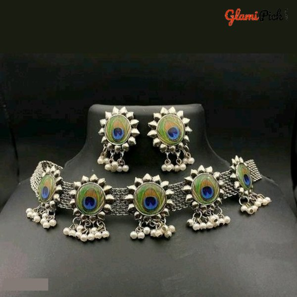 New peacock design Jhumki Choker necklace set