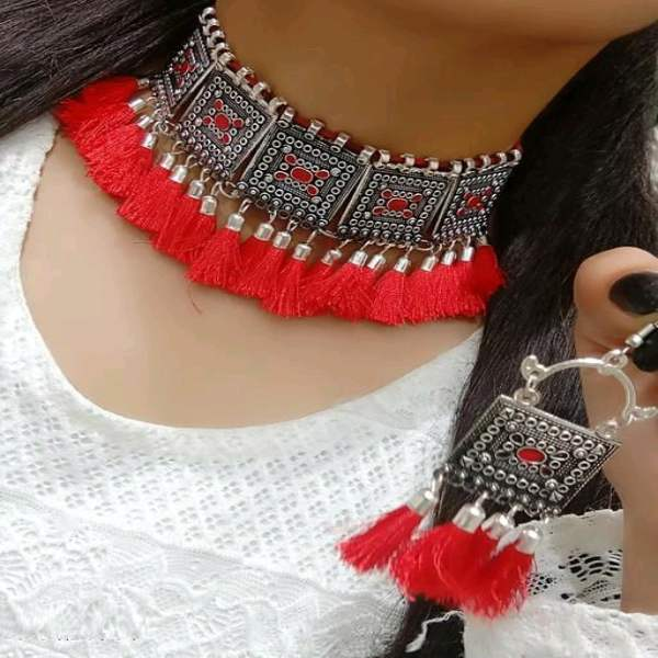 Oxidized Thread Tassel Afghani Necklace Set