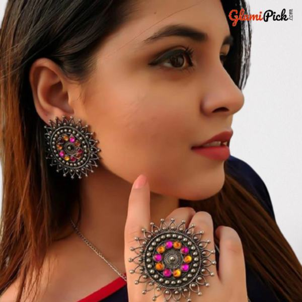 Beautiful Studs Earrings with Ring Pink