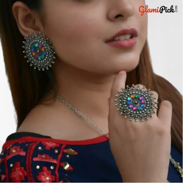 Beautiful Studs Earrings with Ring Multi Color