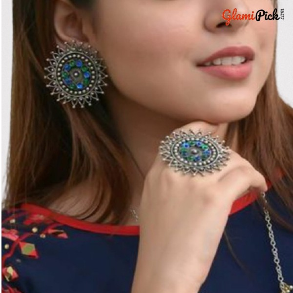Beautiful Studs Earrings with Ring Blue