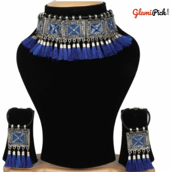 Oxidized Tribal Cotton Thread Blue Necklace Set