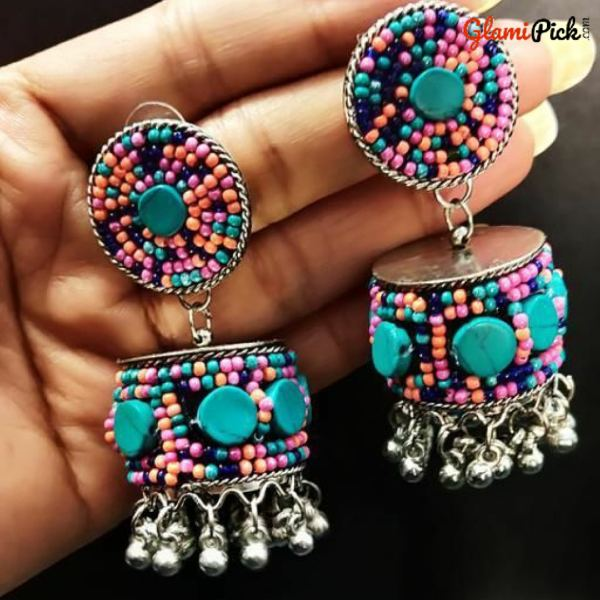 Multi Color beads Jhumki  Earrings