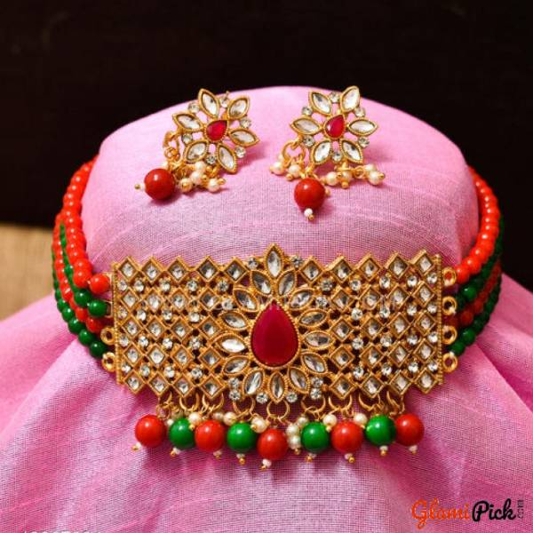 Fusion Choker Set with Earrings - Muliti Color