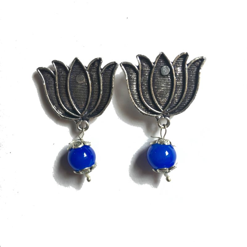 Lotus royal blue stud earrings