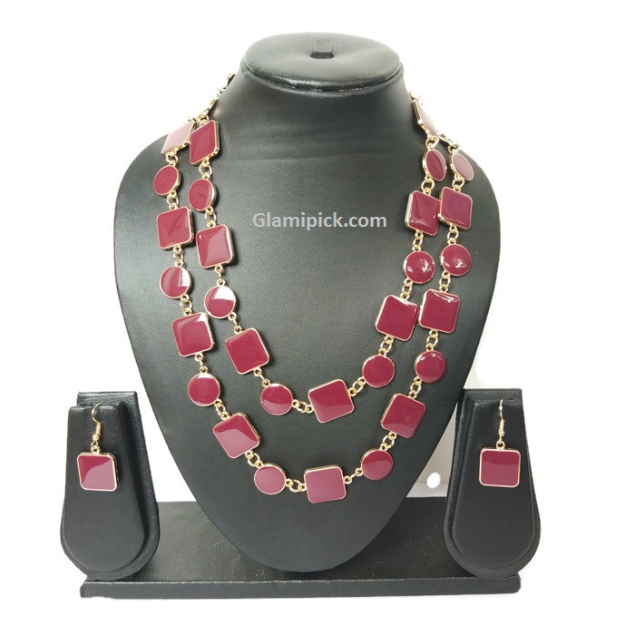 Maroon necklace set