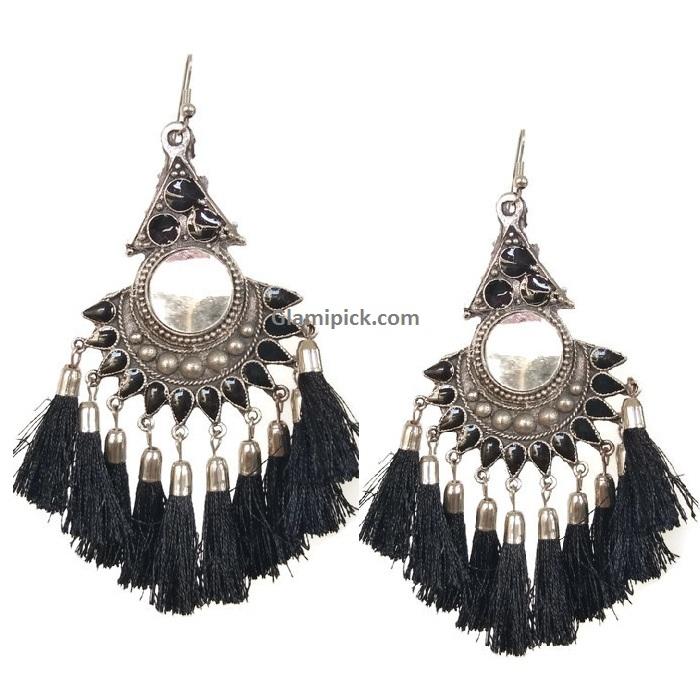 Thread Tassels Dangle Earrings with mirror