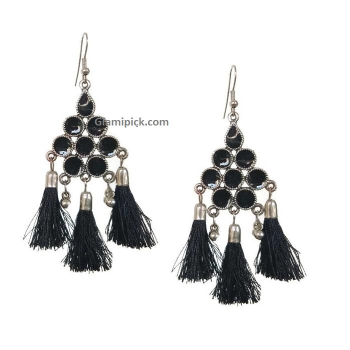Black thread tassel hook earring