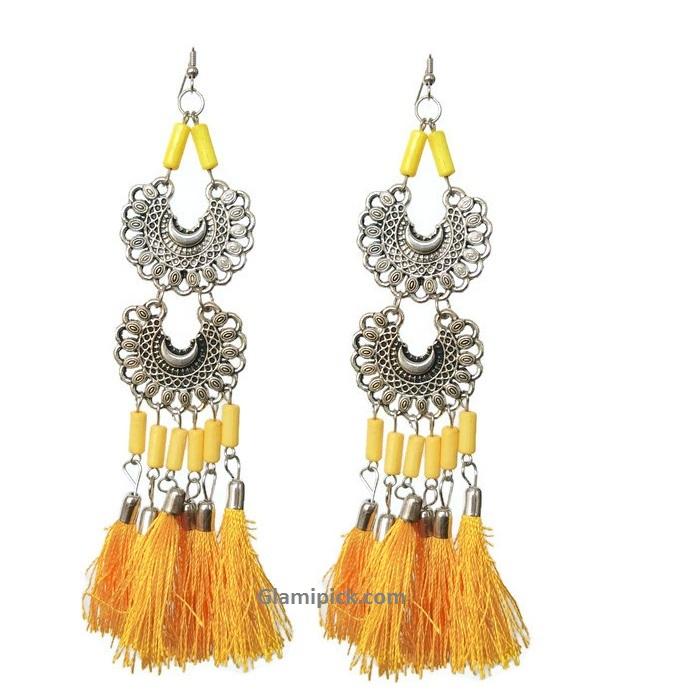 Yellow tassel long double dangle earrings