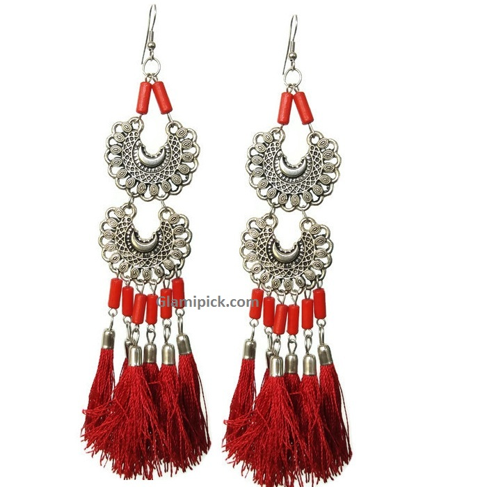Red tassel long double dangle earrings
