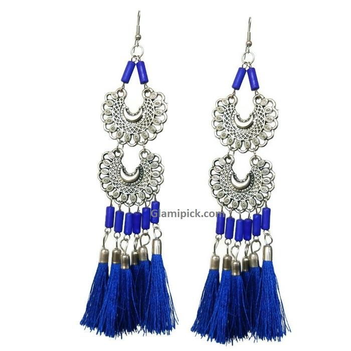 Royal blue tassel long double dangle earrings