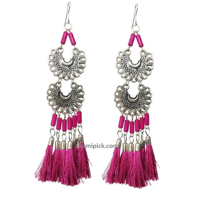 Pink tassel long double dangle earrings