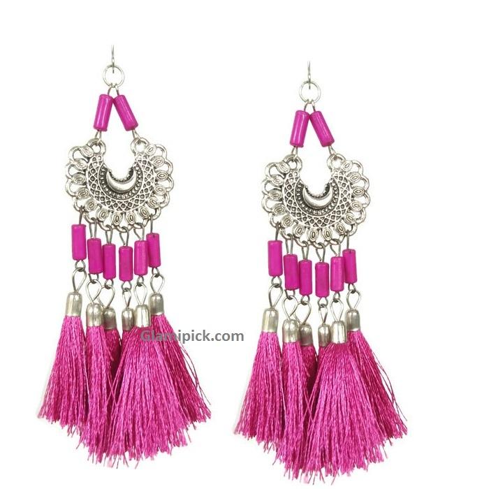 Pink tassel long dangle earrings