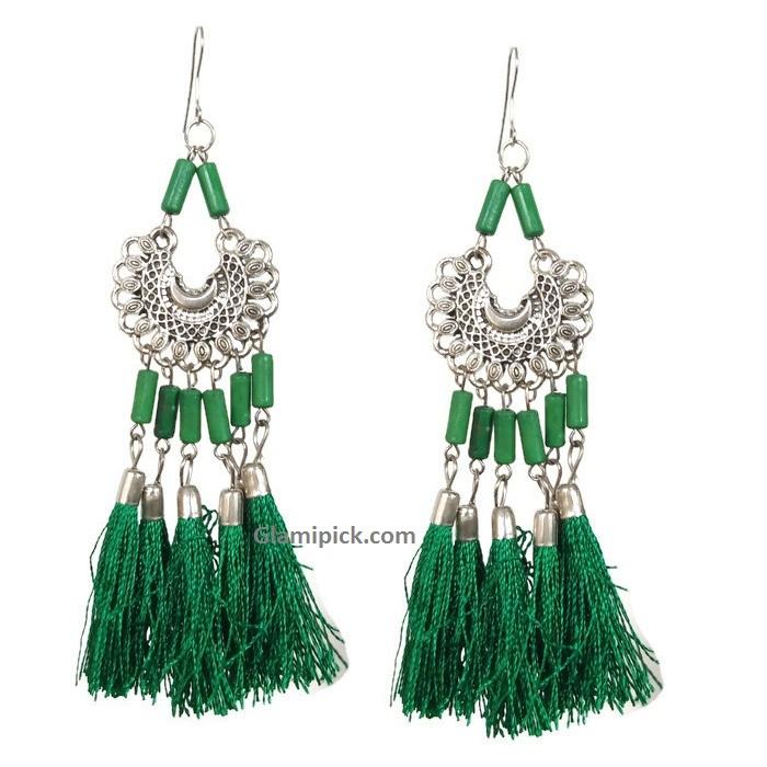 Green tassel long dangle earrings