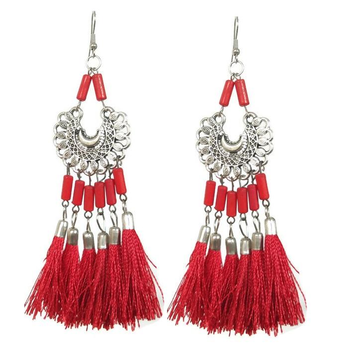 Red tassel long dangle earrings