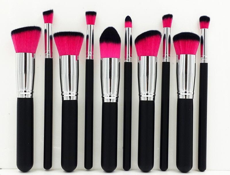 Kabuki Makeup Brush Set of 10 Pink & Black