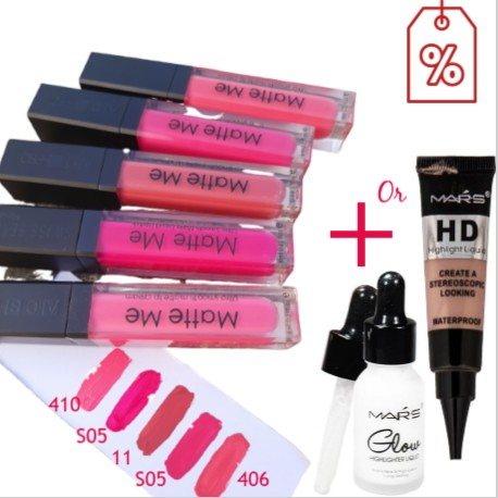 Matte Me Lipstick Buy 2 Get 1 Highlighter - Pink