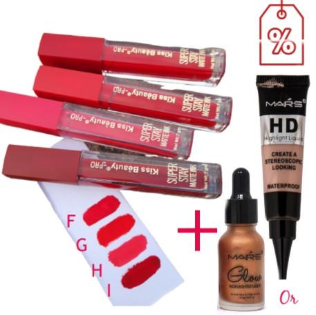 Kiss Beauty Matte Lipstick Buy 2 Get 1 highlighter