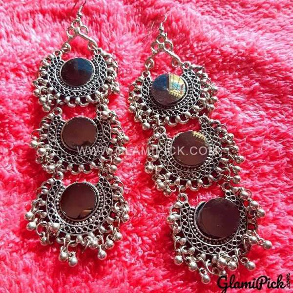 Three Layer Mirror Earrings