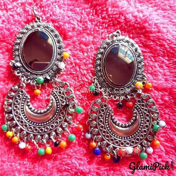 Oxidized Multi Color Bids Earrings