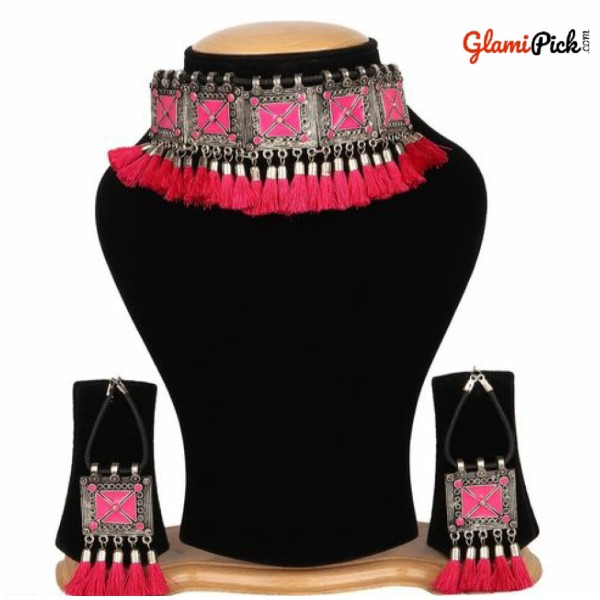 Oxidized Tribal Cotton Thread Pink Necklace Set