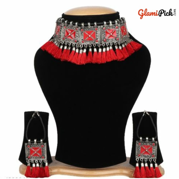 Oxidized Tribal Cotton Thread Red Necklace Set