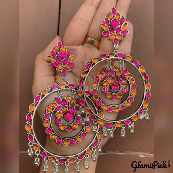 Earrings Pink & Orange Bids