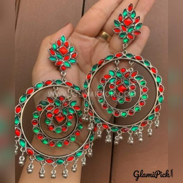 Earrings Red & Green Bids