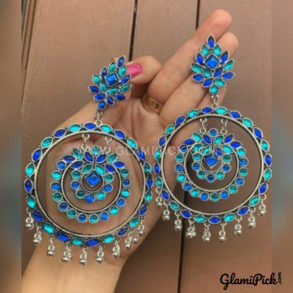 Earrings Blue Bids