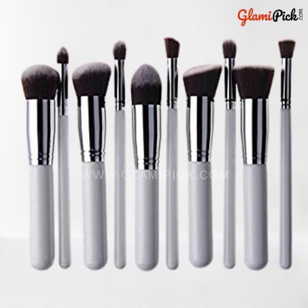 Kabuki Makeup Brush Set of 10 White Silver