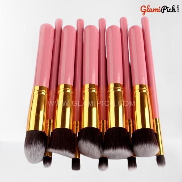 Kabuki Makeup Brush Set of 10 Pink & Golden