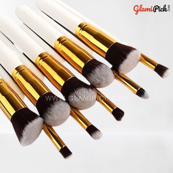 Kabuki Makeup Brush Set of 10 White & Golden