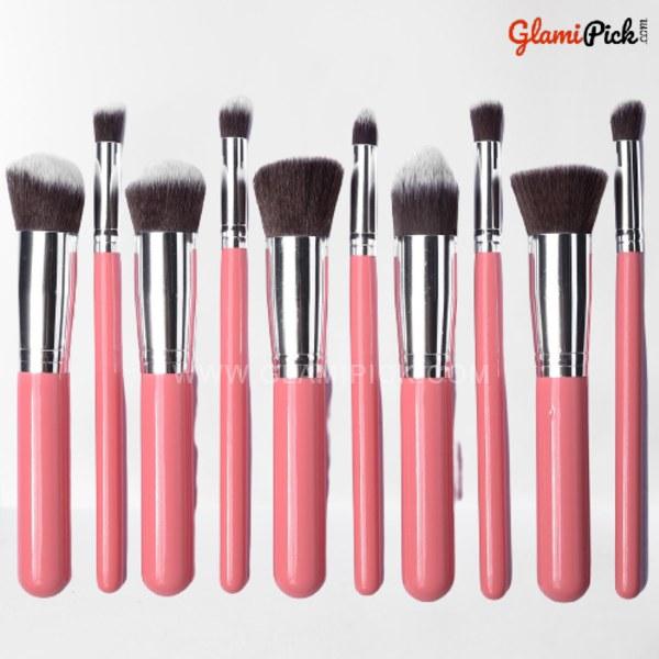 Kabuki Makeup Brush Set of 10 Pink & Silver