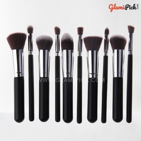 Kabuki Makeup Brush Set of 10 Black & Silver