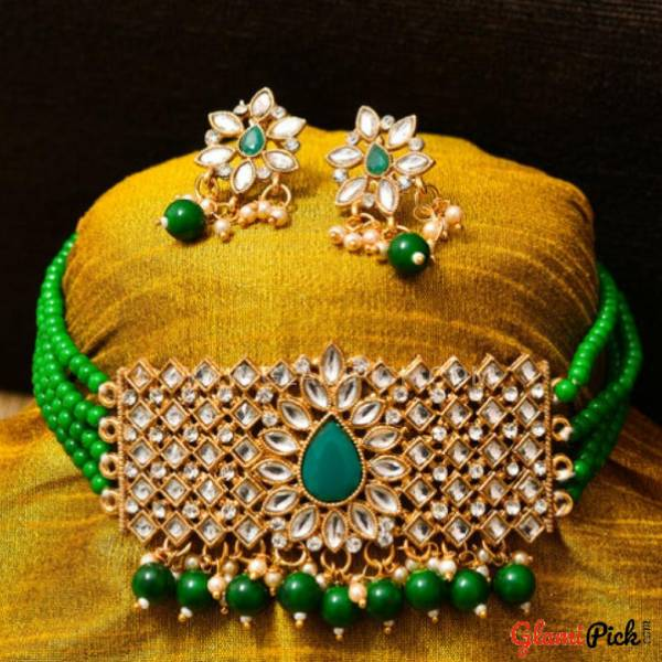 Fusion Choker Set with Earrings - Green Color