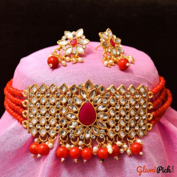 Fusion Choker Set with Earrings - Red Color