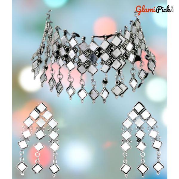 New Trendy Mirror Choker Necklace Set